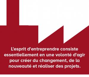 L'esprit d'entreprendre consiste essentiellement en une volonté d'agir pour créer du changement, de la nouveauté et réaliser des projets